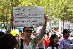 "Poster stating ""#Yo Soy 132 against EPN""; Its not hate nor intolerance against his name, but rather being full of indignation as to what he represents"