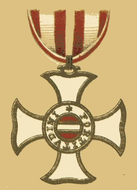 Badge of the Order of Maria Theresa. Hotze received this award for his actions in the Wurzburg campaign. Maria-Theresia-Orden.jpg