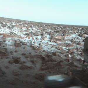 Planetary geology - Surface of Mars as photographed by the Viking 2 lander December 9, 1977.