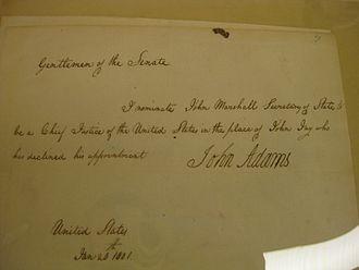 John Marshall - Marshall's Chief Justice nomination
