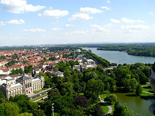 Maschsee Artificial lake situated south of the city centre of Hanover in Germany