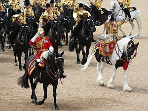 Trooping the Colour - Mounted band of the Household Cavalry at Trooping the Colour 2007. The rider of the piebald (black-and-white) drum horse, working the reins with his feet, crosses drumsticks above his head in salute.