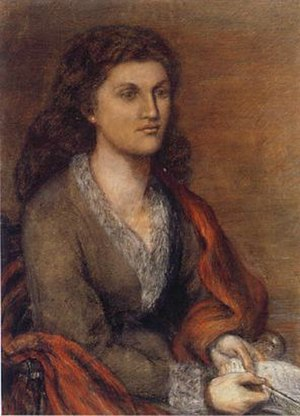 Mathilde Blind - Chalk portrait of Mathilde Blind by  Lucy Madox Brown, 1872