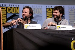 The Duffer Brothers speaking at the 2017 San Diego Comic Con International, for Stranger Things, at the San Diego Convention Center in San Diego, California.