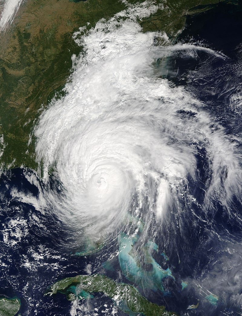 A satellite photo of the Hurricane on October 7, 2016 with the eye just off the coast of Jacksonville, Florida