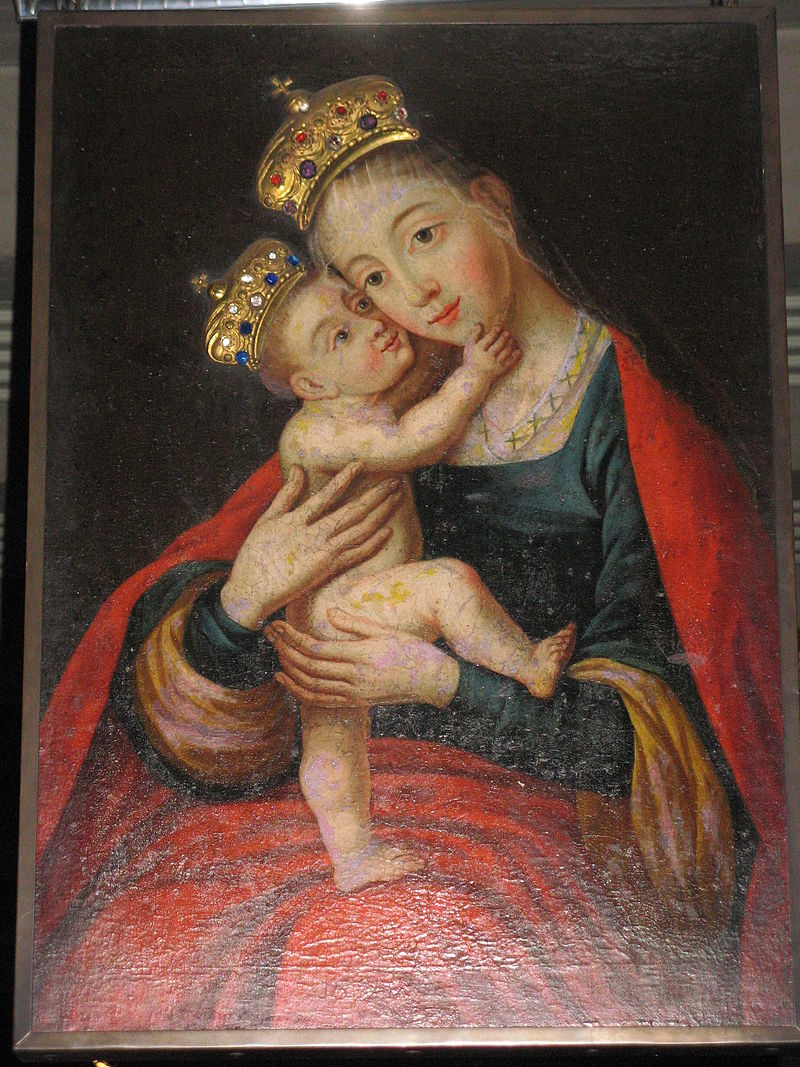 Mary Help of Christians 18th-century painting at Matzleinsdorf church, Austria (Wikipedia)