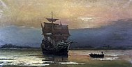 Mayflower in Plymouth Harbor, by William Halsall