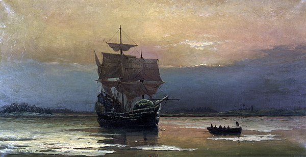 The Mayflower, which transported Pilgrims to the New World. During the first winter at Plymouth, about half of the Pilgrims died. MayflowerHarbor.jpg