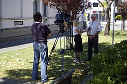 Prime News interviewing Wagga Wagga Mayor Kerry Pascoe.