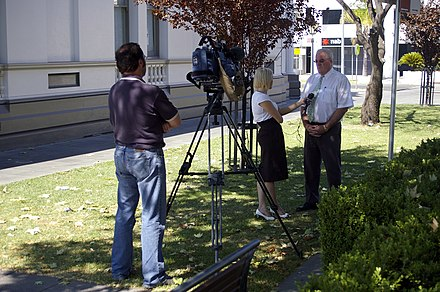 Former Prime News reporter Ashlea Brown interviewing Wagga Wagga Mayor Kerry Pascoe Mayor Kerry Pascoe.jpg