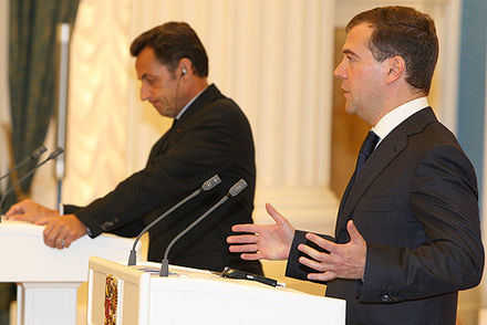 Joint press conference by Russian president Dmitry Medvedev and French President Nicolas Sarkozy after negotiations on the plan Medvedev-Sarkozy.jpg