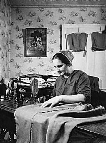 Mennonite farmer's wife dressmaking (1942) Mennonite Women Dressmaking Pennsylvania 1942.jpg