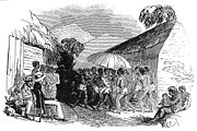 Joseph Merrick (shown here attending an Isubu funeral in 1845) was a Jamaican Baptist missionary who established a church among the Isubu of the coast.
