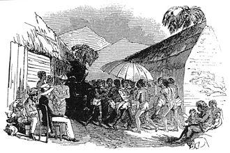 Alfred Saker - Joseph Merrick at an Isubu funeral, Limbe (1845).