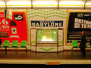 Paris Métro Line 10 - One of the environmentally-related showcases in the station Sèvres – Babylone.