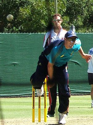 Michael Hussey - Hussey bowls in the Adelaide Oval nets, January 2009.