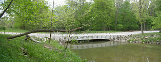 Rocky River (Ohio) - Low water ford bridge over the East Branch Rocky River in the Millstream Reservation.