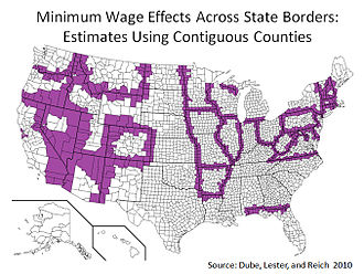 Minimum wage - A 2010 study published in the Review of Economics and Statistics compared 288 pairs of contiguous U.S. counties with minimum wage differentials from 1990 to 2006 and found no adverse employment effects from a minimum wage increase. Contiguous counties with different minimum wages are in purple. All other counties are in white.