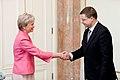 Ministru prezidents Valdis Dombrovskis tiekas ar Somijas vēstnieci Latvijā Mariju Sereniusu (7452932880).jpg