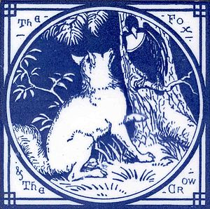 The Fox and the Crow (Aesop) - A 19th century Minton tile illustrating the fable