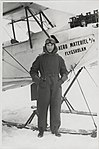 Miss Prim with aeroplane at the flight school Aero Material in Stockholm, Sweden.jpg