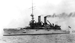 Photograph of USS Mississippi underway in her early configuration without the cage masts.