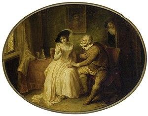 John Masey Wright - Image: Mistress Ford and Falstaff (Wright, c. 1810s)