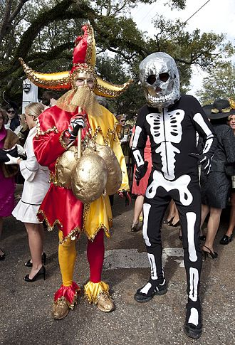 "Mardi Gras in the United States - ""Folly"" and ""Death"" from Mobile, Alabama's Order of Myths mystic society, one of that city's longest Mardi Gras traditions"