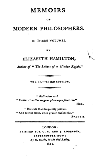 Memoirs of Modern Philosophers - Elizabeth Hamilton's name did not appear on the title page of Modern Philosophers until the third edition.