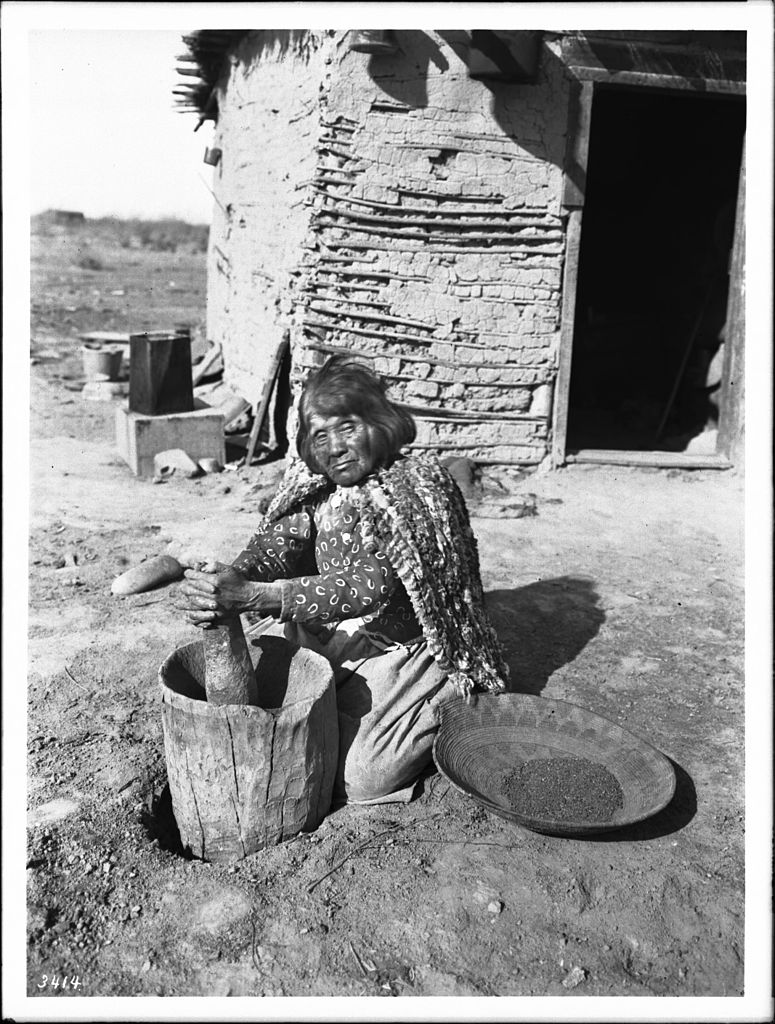 File Mojave Indian Woman Pounding Mesquite Beans In A