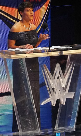 Molly Holly - Molly Holly in April 2018 during her introductory speech to present the female Hall of Famer of the 2018 WWE Hall of Fame Ivory