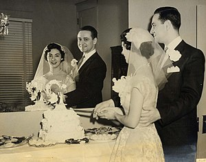 Half hat - A 1955 half-hat design incorporated into a wedding veil