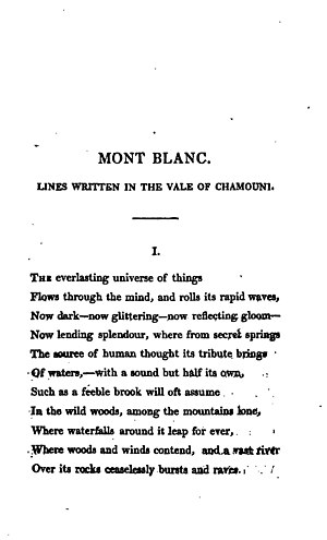 "1817 in poetry - First page of Percy Bysshe Shelley's ""Mont Blanc"" from History of a Six Weeks' Tour"
