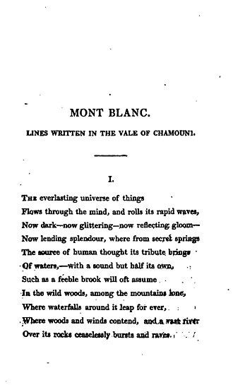 "Mont Blanc (poem) - First page of ""Mont Blanc"" from History of a Six Weeks' Tour (1817)"