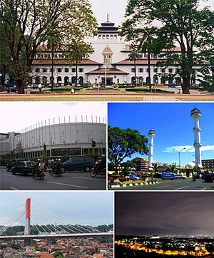 Bandung - Clockwise, from top: Gedung Sate, Grand Mosque of Bandung, Bandung at night, Pasupati Bridge, Merdeka Building