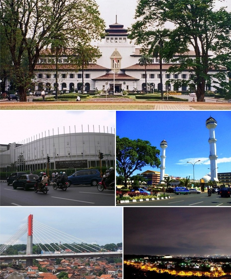 Clockwise, from top: Gedung Sate, Grand Mosque of Bandung, Bandung at night, Pasupati Bridge, Merdeka Building