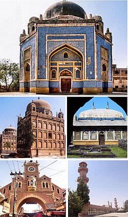 Clockwise from top: Tomb of Mian Ghulam Kalhoro, Tomb of a Talpur Mir, Rani Bagh, Navalrai Market Clocktower, Tombs of Talpur Mirs