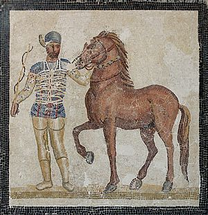Trigarium - Charioteer of the Blue Team with horse (3rd-century mosaic)