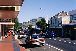 Mosgiel - Gordon Road, Mosgiel, with Saddle Hill in the background.