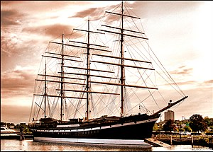 Windjammer - The largest windjammer to survive, the four-masted barque Moshulu, the ship on which Eric Newby, author of Last Grain Race sailed, today a restaurant ship at Philadelphia, Pennsylvania, United States