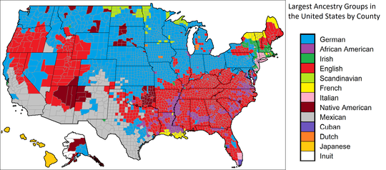 English ancestry in the U.S. Most common ancestry in the United States by county.png