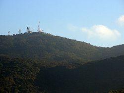 Radio equipment seen at the summit of the mountain from Nuwara Eliya.