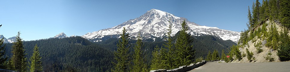 A panorama of the south face of Mount Rainier viewed from Westside Road, Washington State Route 706