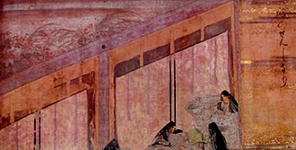 Murasaki Shikibu Diary Emaki - Court lady exits beneath blinds