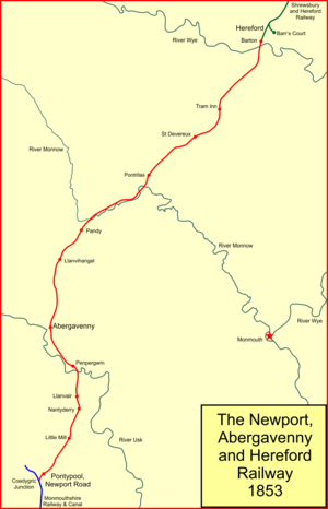 Newport, Abergavenny and Hereford Railway - System map of the Newport, Abergavenny and Hereford Railway in 1858