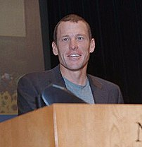 Cyclist Lance Armstrong visiting the NIH (National Institutes of Health).