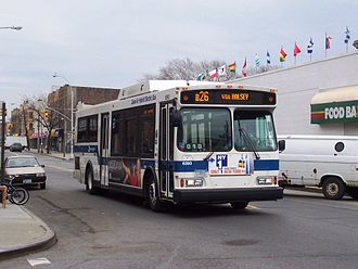 Putnam Avenue Line - A bus on the B26 line arrives at the Ridgewood terminal.