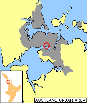 Location of Onehunga in Auckland