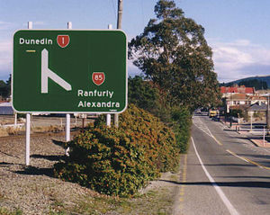 New Zealand state highway network - A typical New Zealand state highway junction sign: State Highways 1 and 85 meet in Palmerston, Otago.