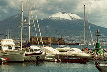 Mergellina Harbour, with the Castel dell'Ovo on the shore at centre and Vesuvius looming further in the background